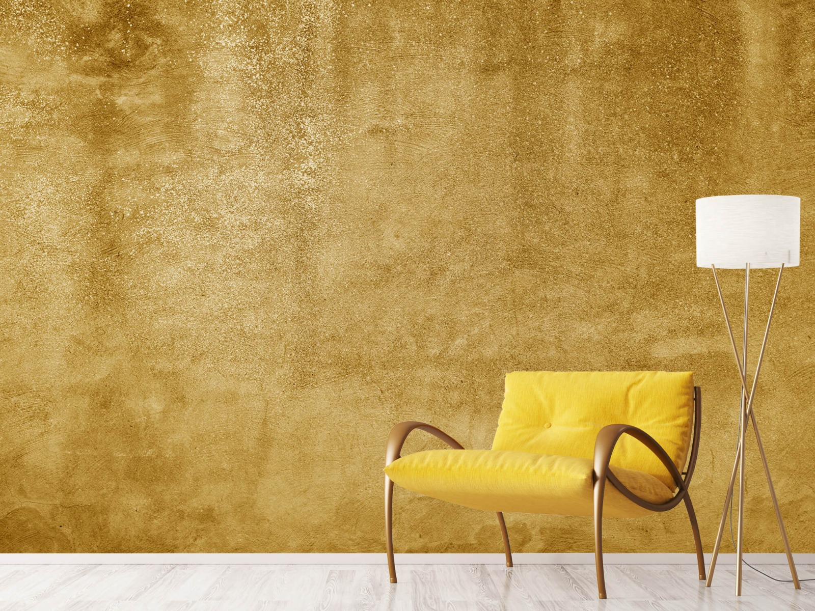 Betonoptik Tapete - Ockerhaltiger gelber Beton auf Fototapete - Wohnzimmer 11