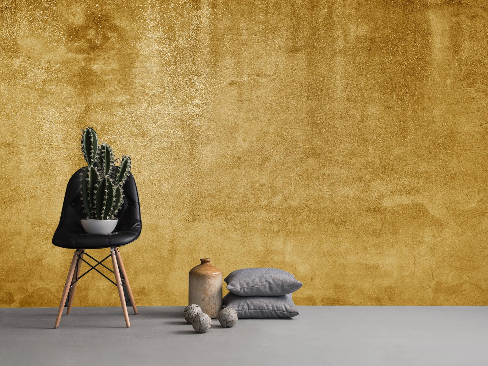 Betonoptik Tapete - Ockerhaltiger gelber Beton auf Fototapete - Wohnzimmer 1