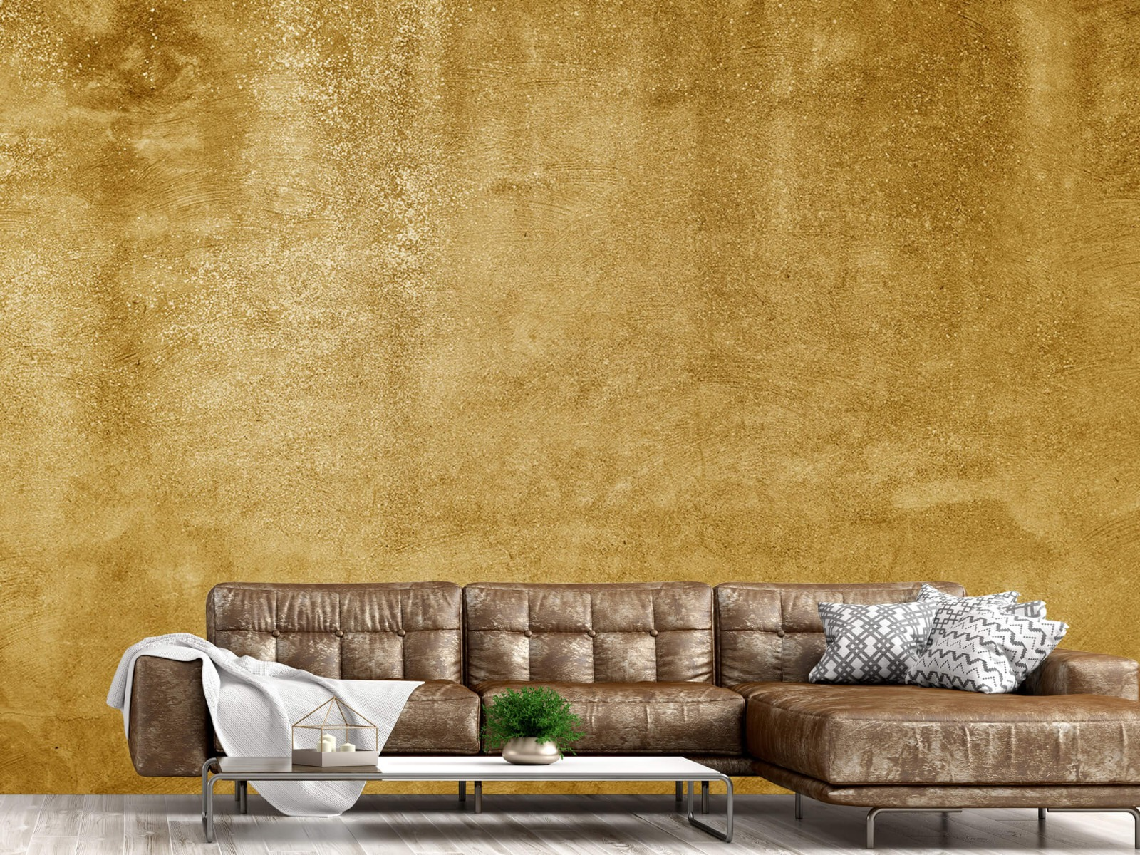 Betonoptik Tapete - Ockerhaltiger gelber Beton auf Fototapete - Wohnzimmer 14