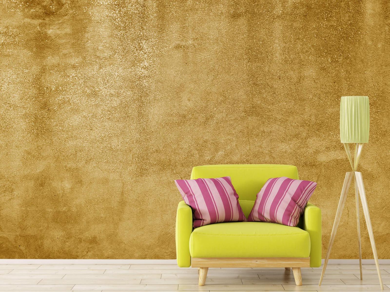 Betonoptik Tapete - Ockerhaltiger gelber Beton auf Fototapete - Wohnzimmer 17