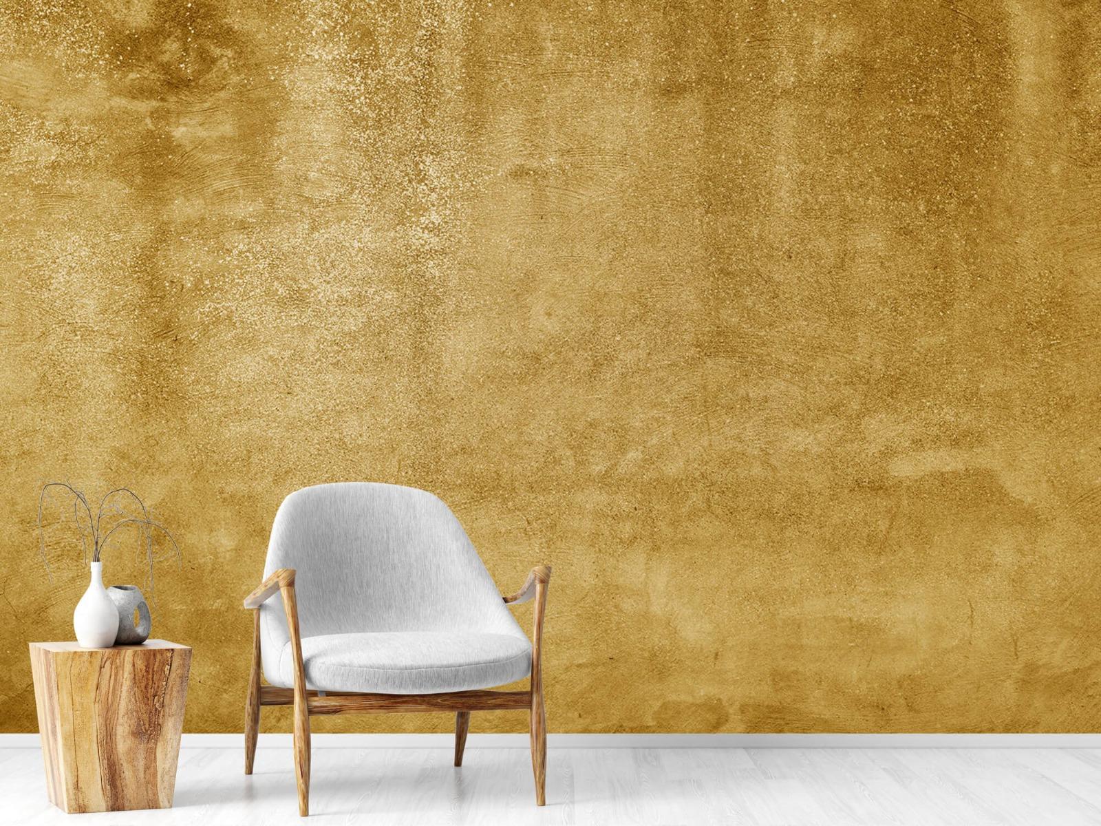 Betonoptik Tapete - Ockerhaltiger gelber Beton auf Fototapete - Wohnzimmer 18