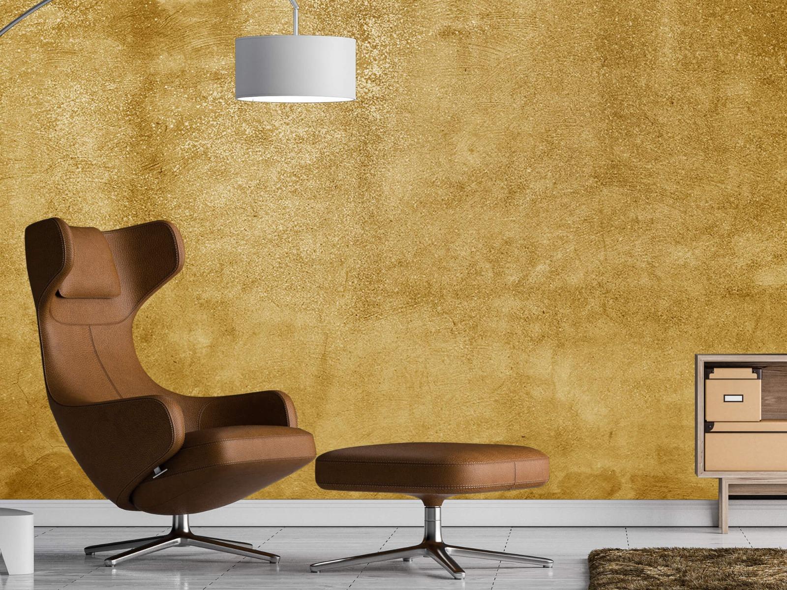 Betonoptik Tapete - Ockerhaltiger gelber Beton auf Fototapete - Wohnzimmer 19
