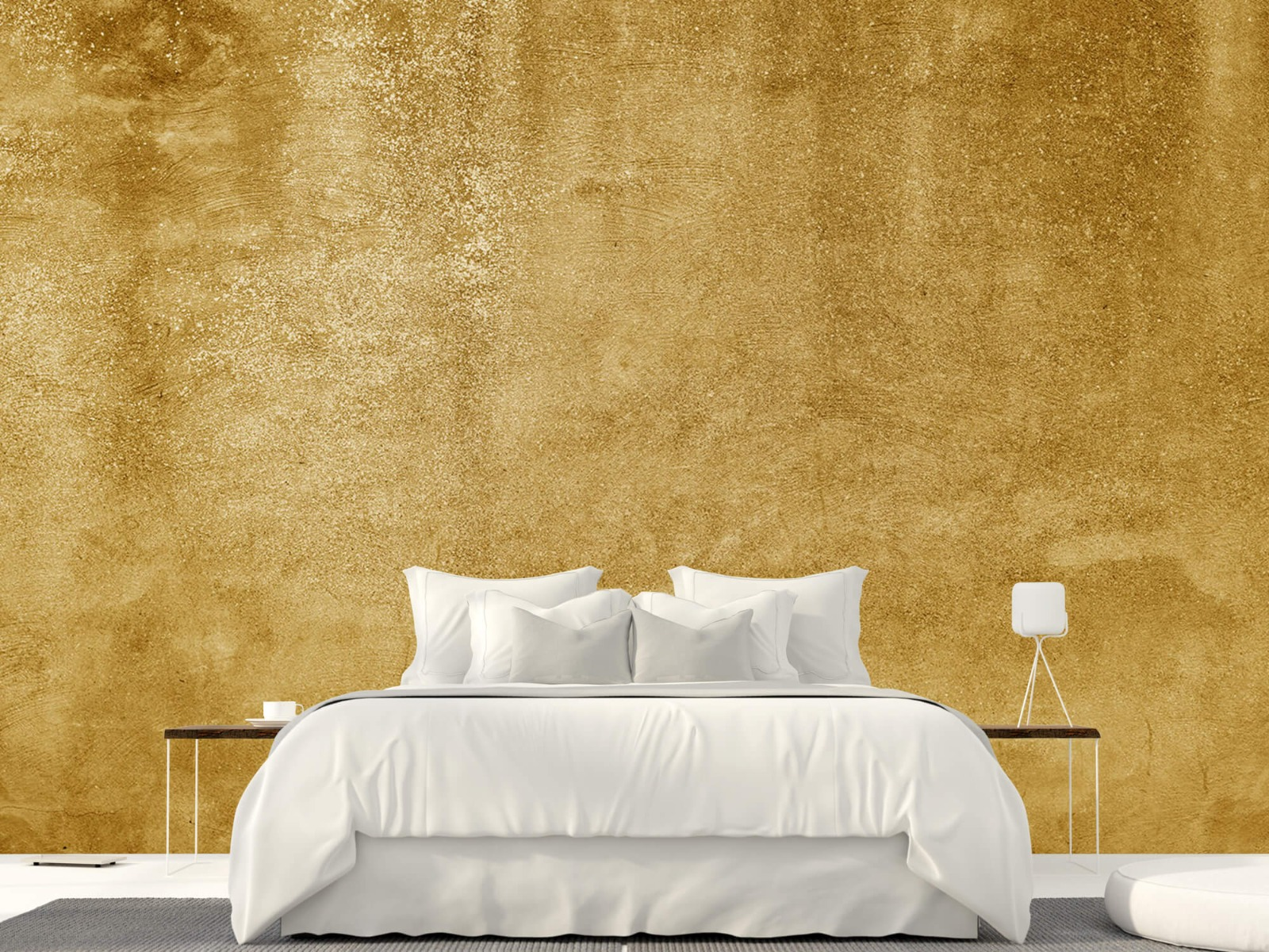 Betonoptik Tapete - Ockerhaltiger gelber Beton auf Fototapete - Wohnzimmer 23