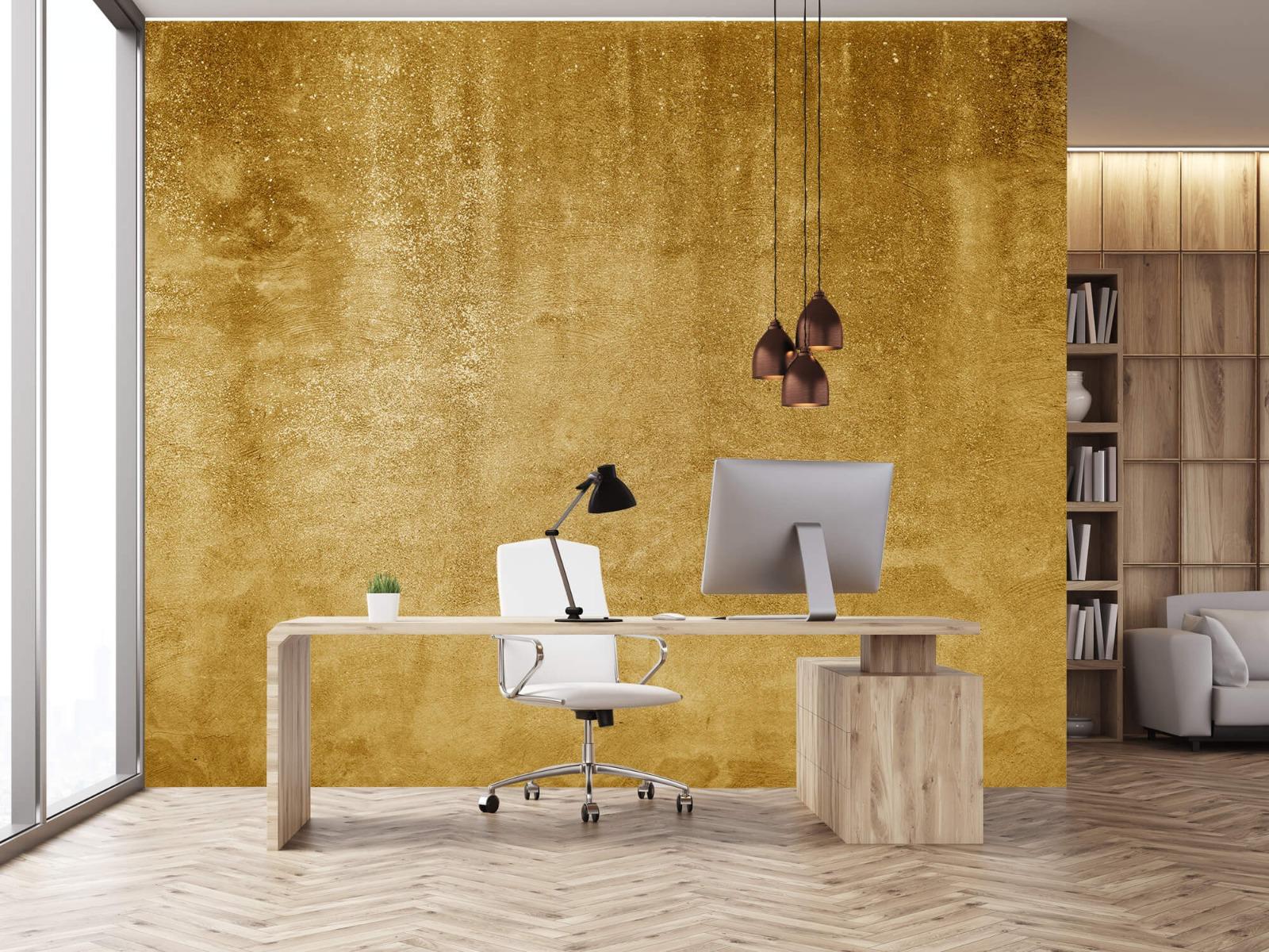Betonoptik Tapete - Ockerhaltiger gelber Beton auf Fototapete - Wohnzimmer 24