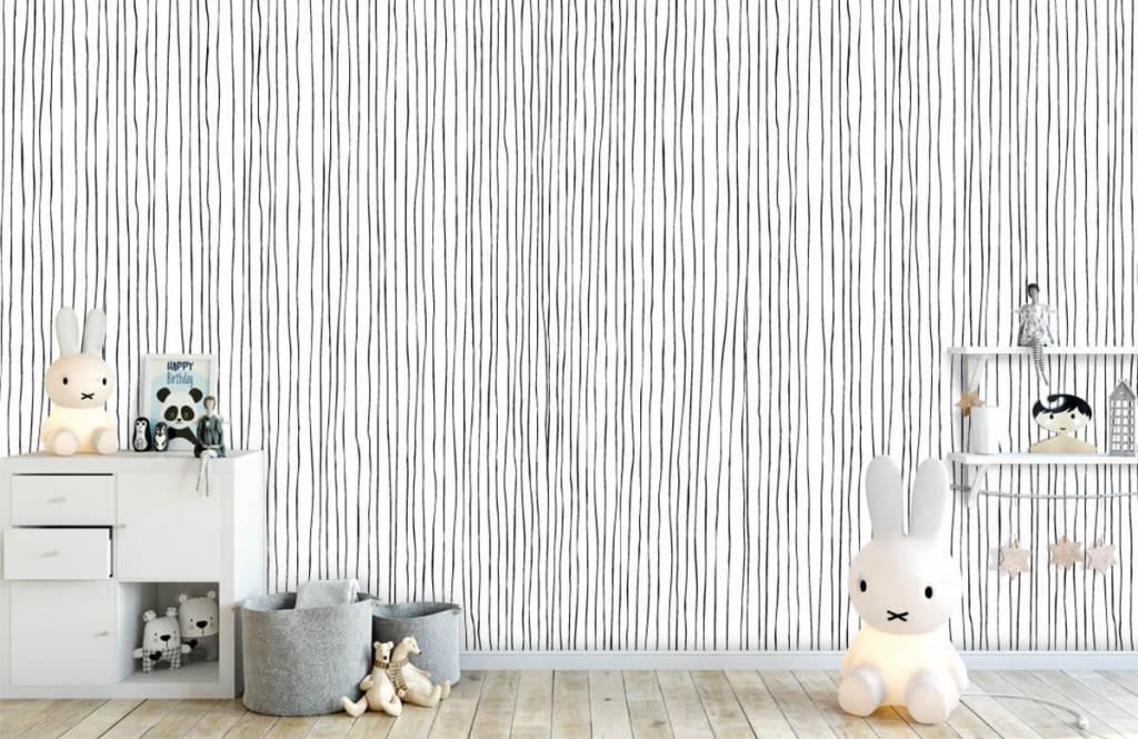 Abstrakte Tapete - Schwarzweiß Tapete mit abstrakten Linien - Lagerhaus 4